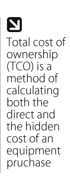 Total Cost of Ownership is a method of calculating both the direct and the hidden cost of an equipment purchase