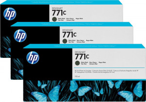HP B6Y31A No.771C Matte Black Ink Cartridges (3x 775ml)