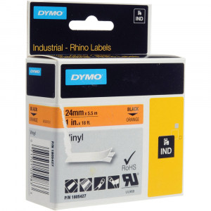 DYMO Rhino 1805427 - 24mm x 5.5m - Black on Orange Vinyl Tape