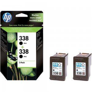 HP No. 338 Black Ink Cartridge with Vivera Ink (Twin pack)