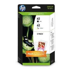 HP J3M80AE Black & Tri-Colour 62 Ink Carridges (200 pages*)