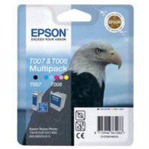 Epson C13T00740310 T007 Black + T008 5-Colour Ink Cartridges (16ml + 46ml)