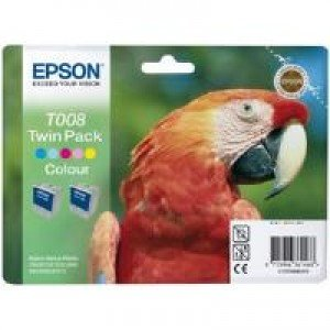 Epson T008 5-Colour Ink Cartridge Twin Pack (2x 46ml)