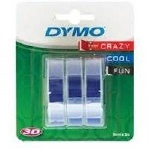 DYMO 3D Embossing Tape 9mm x 3m - White on Blue Tape (3 rolls)