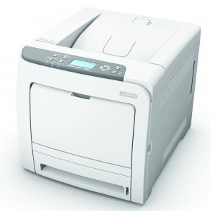 Ricoh SPC320DN A4 Colour Laser Printer left view