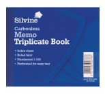 Silvine Carbonless Triplicate Memo Book Blue 102x127mm (5 Pack) 707