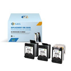 3 x Compatible HP 304XL High Yield Black Ink cartridge (3 x 300 Pages*) N9K08AE