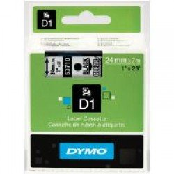 DYMO D1 53710 - 24mm x 7m - Black on Clear Tape