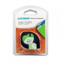DYMO LetraTAG 12mm x 4m - Black on White Paper Tape