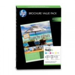 HP No.940XL Officejet Brochure Value Pack (100sht/210x297mm + CMY Inks)
