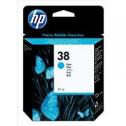 HP C9415A No.38 Cyan Pigment Ink Cartridge with Vivera Ink (27ml)