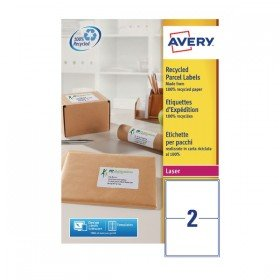 Avery Recycled Laser White Parcel Label 199.6 x 143.5mm 2 Per Sheet (200 Pack) LR7168-100