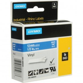 DYMO Rhino 1805243 - 12mm x 5.5m - White on Blue Vinyl Tape