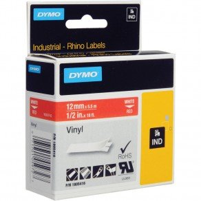 DYMO Rhino 1805416 - 12mm x 5.5m - White on Red Vinyl Tape