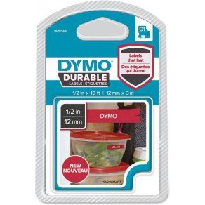 Dymo 1978366 D1 Durable White on Red Tape (12x3 Meters)