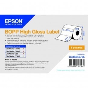 Epson C33S045705 BOPP High Gloss Die-cut Label Roll 76mm x 51mm (2770 labels)