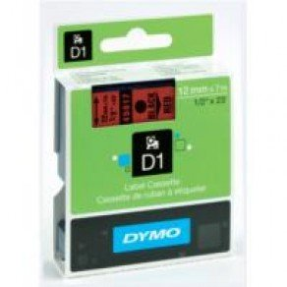DYMO D1 45017 - 12mm x 7m - Black on Red Tape