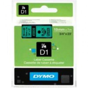 DYMO D1 45809 - 19mm x 7m - Black on Green Tape