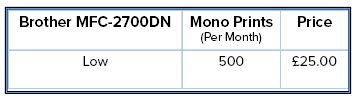 MFC-L2700DN Pricing Table